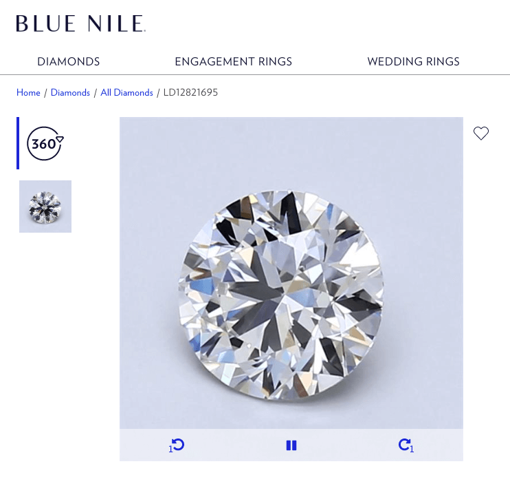 eye clean diamond blue nile 360 preview
