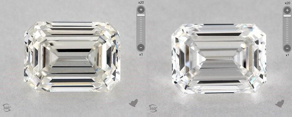D-I color emerald cut diamonds comparison