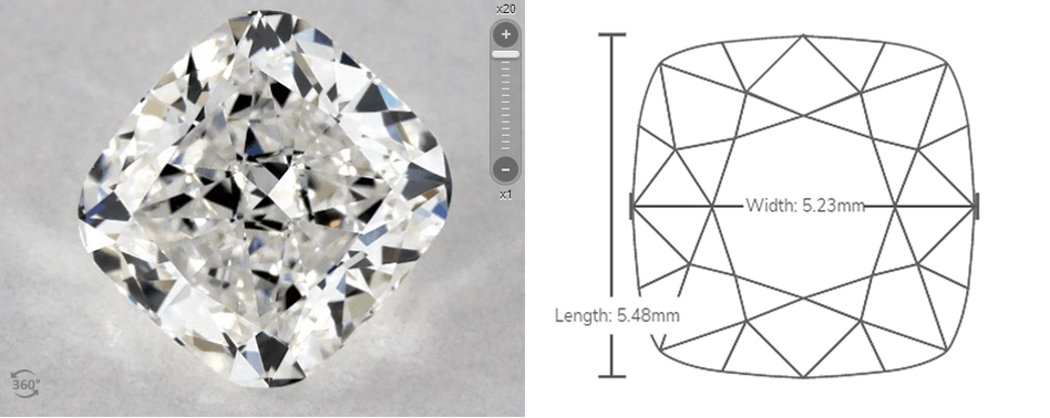 cushion cut diagram