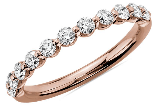 Rose Gold Floating Diamond Ring from Blue Nile