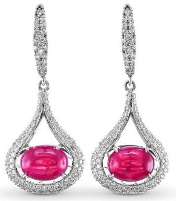 Ruby Drop Earrings with diamond halo from Leibish