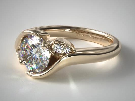 Yellow Gold Modern Leaf Bypass Engagement Ring