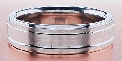 Men's 3 Satin/Shiny Edged Wedding Band