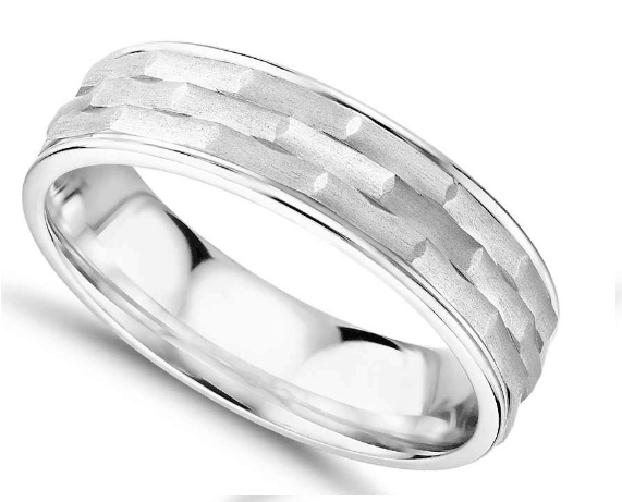 Monique Lhuillier Matte Textured Engraved Wedding Band 18k White Gold