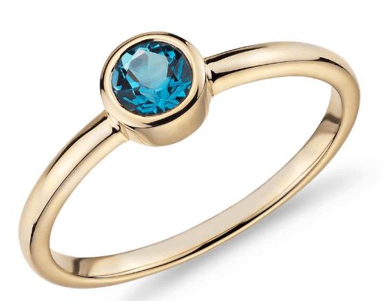 Petite Bezel-Set Swiss Blue Topaz Fashion Ring from Blue Nile