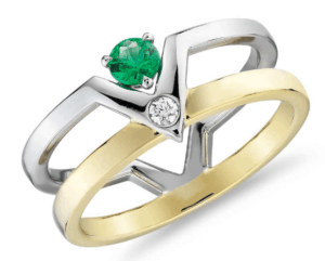 Geometric Double Band Emerald and Diamond Ring from Blue Nile
