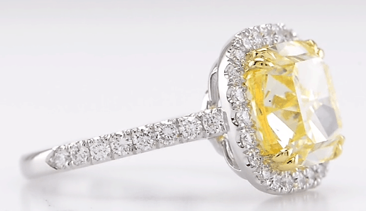 5.64ctw Yellow Diamond Halo Ring with Micro Pave from Leibish