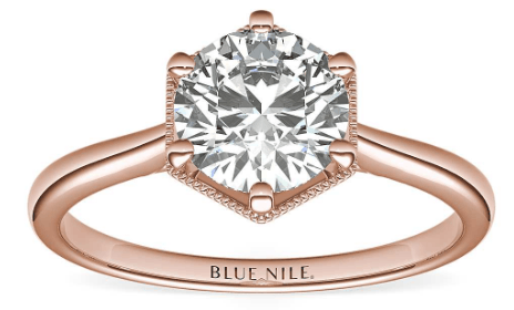 Rose gold Hexagon Halo Solitaire Setting