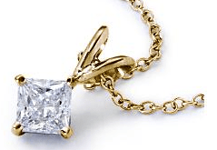 14K Yellow Gold Princess Cut Solitaire Pendant from Blue Nile
