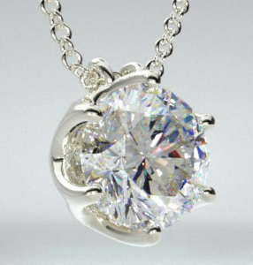 Platinum Scallop basket diamond pendant James Allen