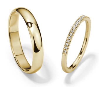 Petite Micropavé and Classic Wedding Rings in 14K Yellow Gold