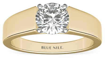 yellow gold Wire Band Solitaire Setting