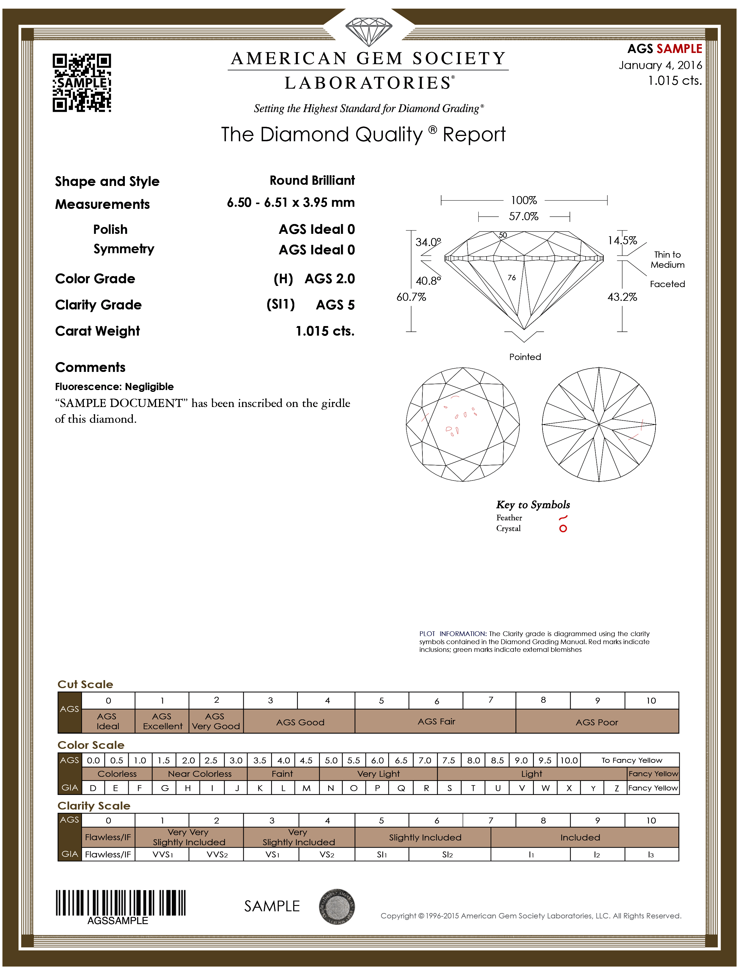 AGS Gold Diamond Quality Report Sample