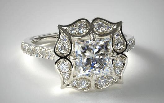 Tear Drops Halo Diamond Engagement Ring
