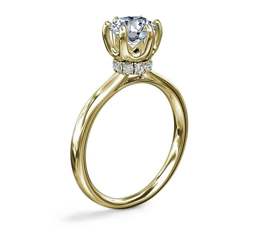 Six-Prong Solitaire Setting with Hidden Under-Halo