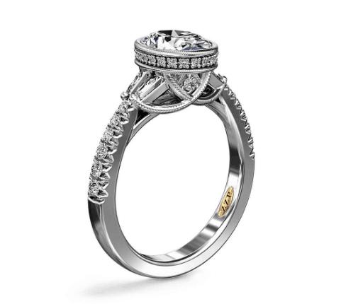 Oval Bezel Diamond Engagement Ring with Baguette Sidestones