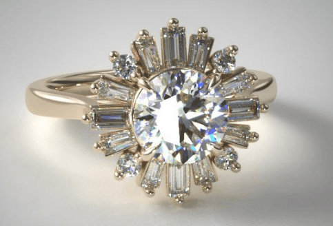BAGUETTE BALLERINA HALO DIAMOND ENGAGEMENT RING