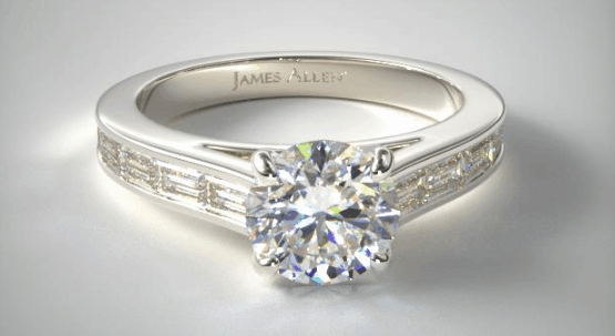 PLATINUM BAGUETTE DIAMOND ENGAGEMENT RING