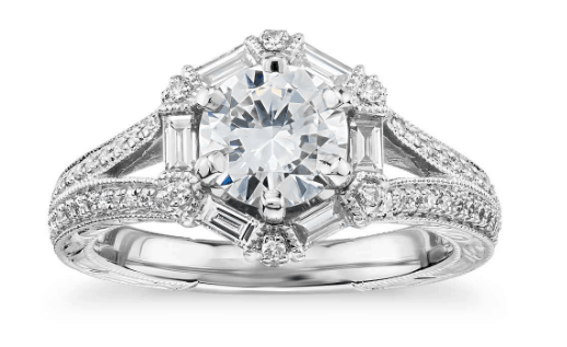 Hexagon Baguette Diamond Engagement Ring