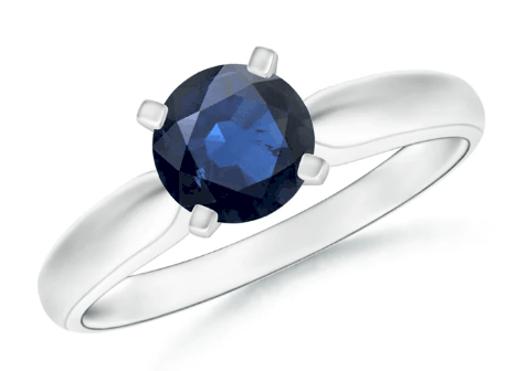 Tapered Solitaire Round Sapphire Engagement Ring