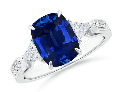 GIA Certified Cushion Sapphire Ring
