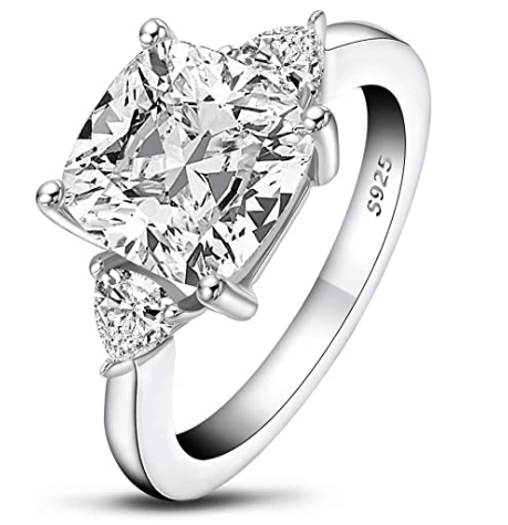 Sterling Silver Three-Stone Cubic Zirconia Ring