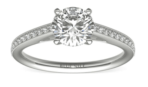 Channel Set with Melee diamonds Engagement Ring