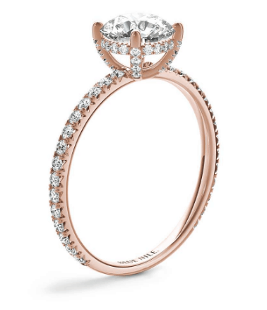 French Pave Crown Diamond Engagement Ring