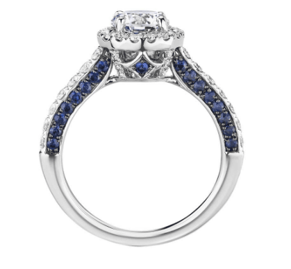 Sapphire Profile and Diamond Halo Engagement Ring