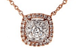 Rose Gold Cushion Halo Cluster Necklace Push Present