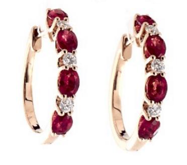 Ruby and Round Diamond Hoop Earrings