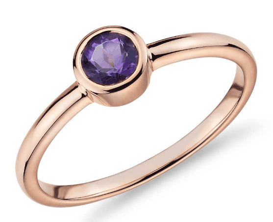 Bezel-Set Amethyst Fashion Ring