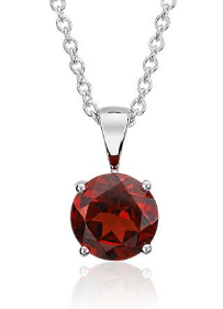 Garnet Solitaire Pendant as Push Present