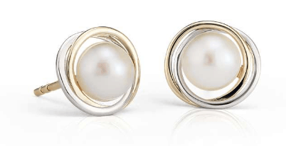 Freshwater Cultured Pearl Two-Tone Halo Stud Earrings