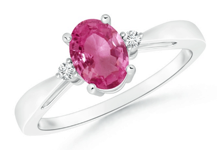 Solitaire Ring with Pink Sapphire and Diamond Accents
