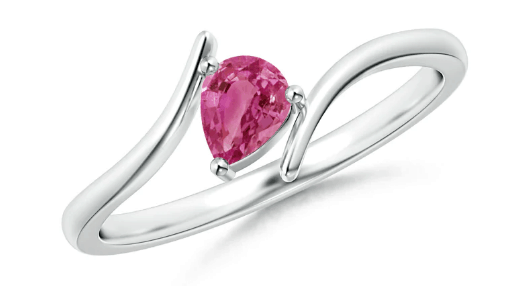 Bypass Pear-Shaped Pink Sapphire Ring