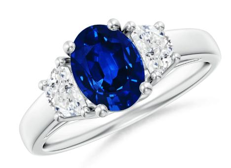 Three-Stone Oval Blue Sapphire and Half Moon Diamond Ring