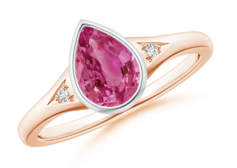 Bezel-Set Pear-Shaped Pink Sapphire Ring with Diamonds