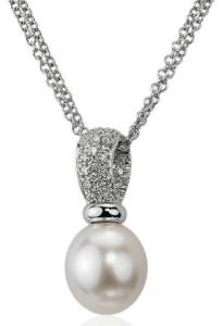 Diamond and South Sea Pearl Drop Pendant
