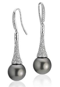 Diamond Drop Tahitian Cultured Pearl Earrings
