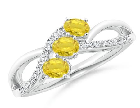 Three Stone Sapphire Bypass Ring with Diamonds