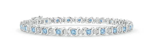 Aquamarine and Diamond Tennis Bracelet