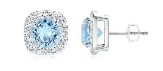 Aquamarine and Diamond Cushion Halo Stud Earrings