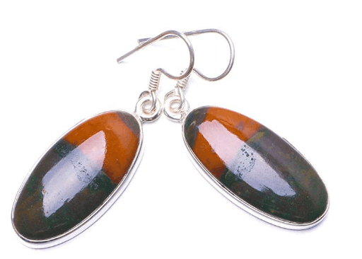 BloodStone Sterling Silver Earrings