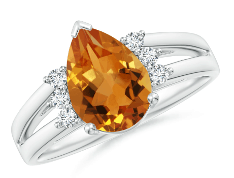 Pear Shape Citrine Ring with Diamond Accents