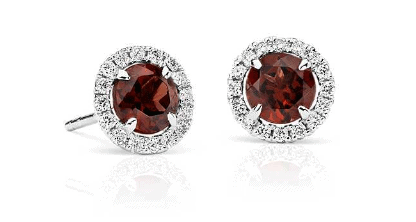 Garnet and Micropavé Diamond Stud Earrings
