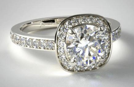 Cushion Basket Diamond Engagement Ring