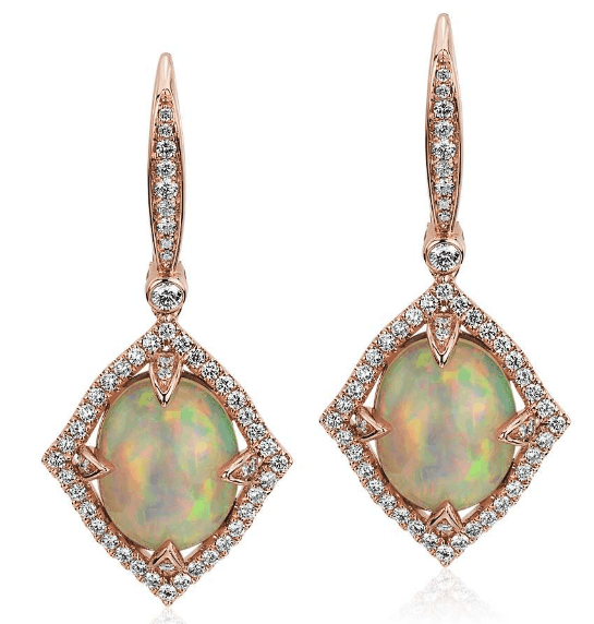 Oval Cabochon Opal Drop Earrings