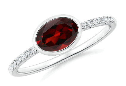 East-West Oval Garnet and Diamond Bezel Ring