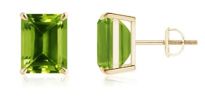 Emerald-Cut Peridot Solitaire Stud Earrings